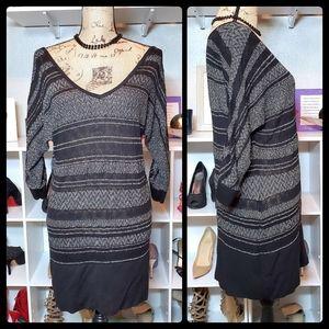 WHBM Sweater Dress V-neck Shimmer in Sliver Black